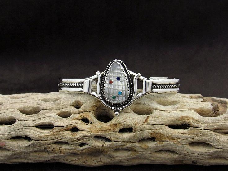 Sterling Silver Multi Stone Inlay Corn Cuff Bracelet