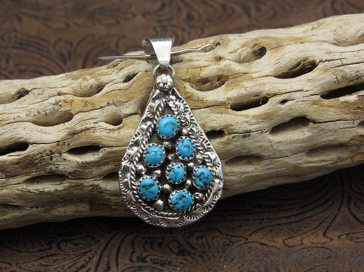 Southwestern Sterling Silver Cluster Turquoise Pendant