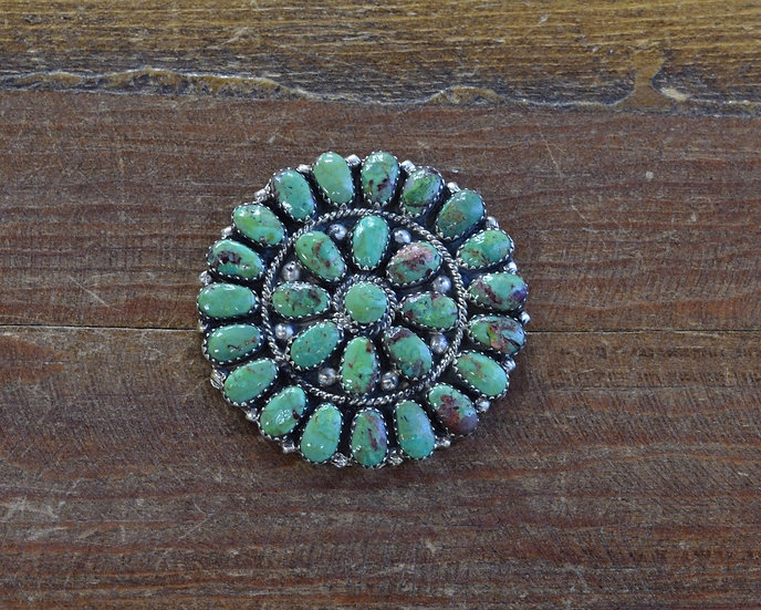 Vintage Sterling Silver Green Turquoise Navajo Pin/Pendant