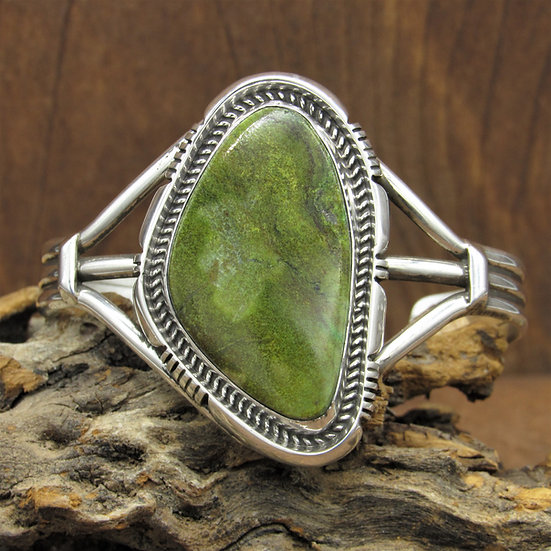 Southwestern Sterling Silver and Green Turquoise Cuff Bracelet