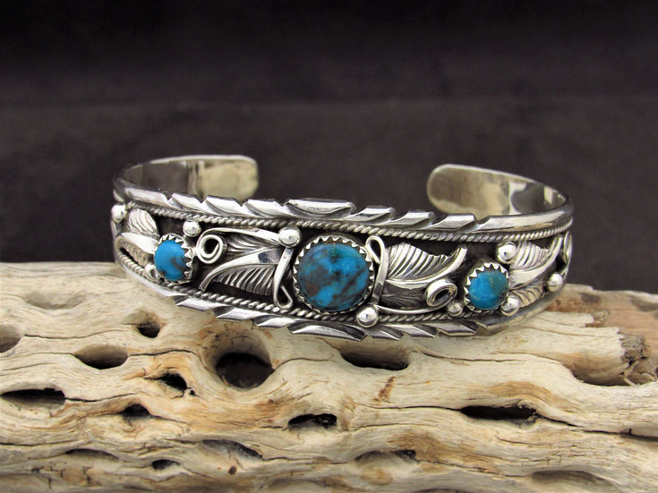 Navajo Sterling Silver and Turquoise Handmade Cuff Bracelet by Davey Morgan
