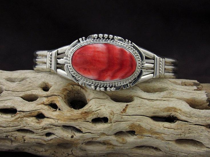 Navajo Sterling Silver Red Spiny Oyster Cuff Bracelet By J. Nelson