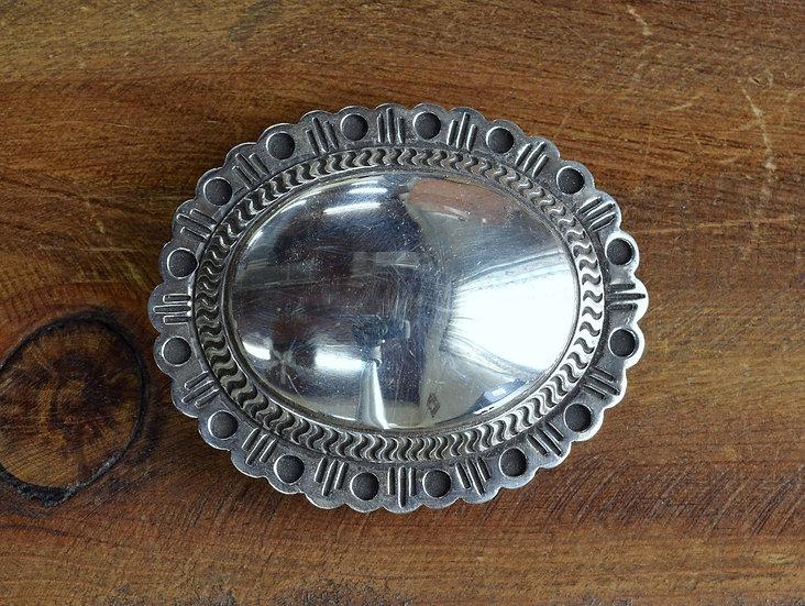 Vintage Southwest Sterling Silver Concho Belt Buckle
