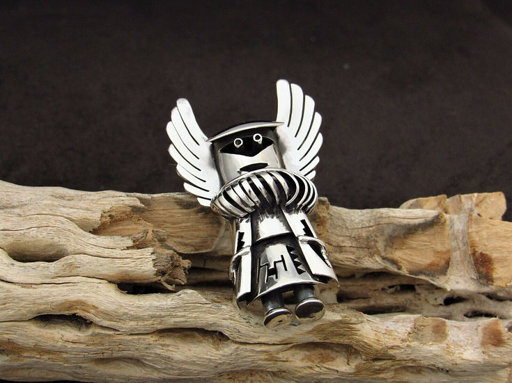 Sterling Silver Mother Crow Kachina Pendant and Pin