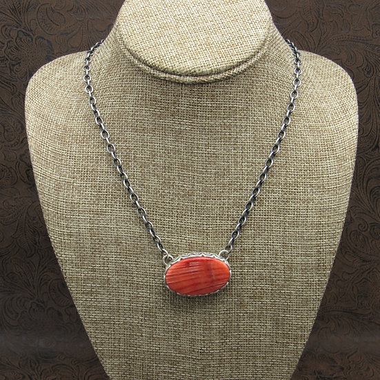 Southwestern Sterling Silver Red Spiny Oyster Necklace