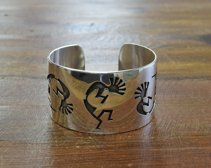 Sterling Silver Hopi Overlay Kokopelli Cuff Bracelet By George Phillips