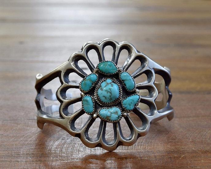 Navajo Turquoise Cluster Sandcast Sterling Silver Cuff Bracelet