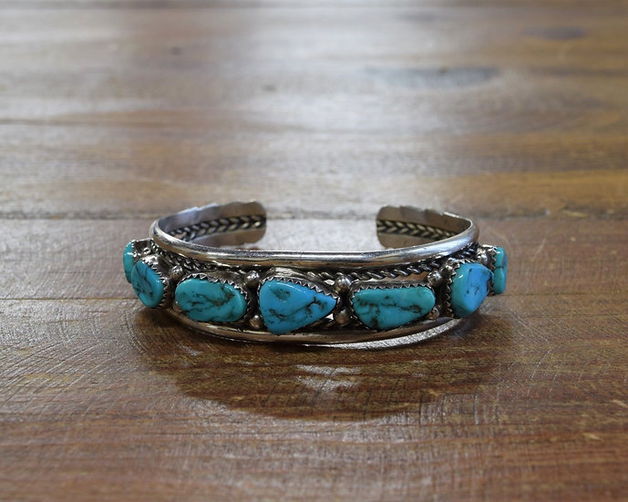 Vintage Navajo Sterling Silver and Turquoise Cuff Bracelet by Sarah Dickens