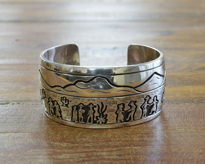 Navajo Sterling Silver Overlay Squaw Dance Cuff Bracelet by Sampson Gray