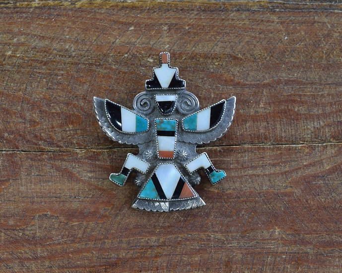 Vintage Southwest Sterling Silver Inlaid Knife Wing Pin