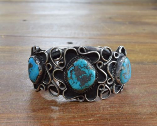 Vintage Navajo Sterling Silver And Turquoise Cuff Bracelet Larger Wrist