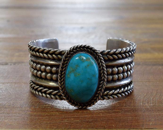 Vintage Heavy Sterling Silver Turquoise Bracelet
