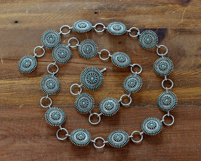 Sterling Silver and Intricate Needlepoint Turquoise Concho Belt