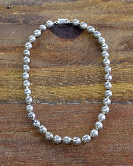 Vintage Taxco Sterling Silver Bead Necklace
