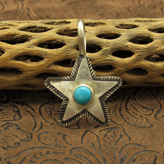 Sterling Silver Turquoise Star Pendant by Scott Skeets