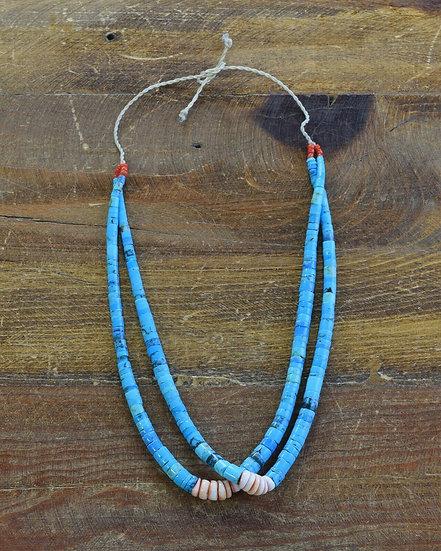 Santo Domingo Block Turquoise and Shell Jacla Necklace