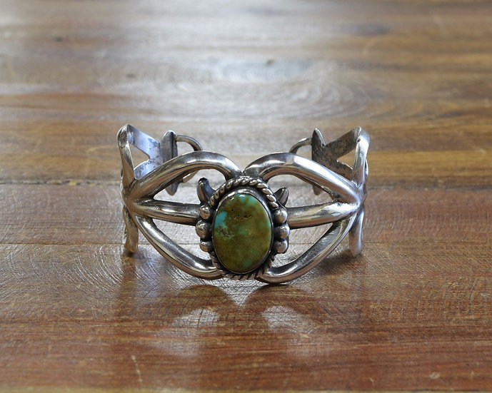 Vintage Sandcast Sterling Silver and Turquoise Cuff Bracelet
