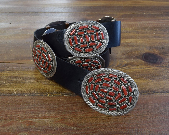 Southwest Sterling Silver and Coral Concho Belt