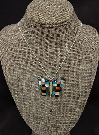 Zuni Multi-Color Butterfly Pendant with Chain