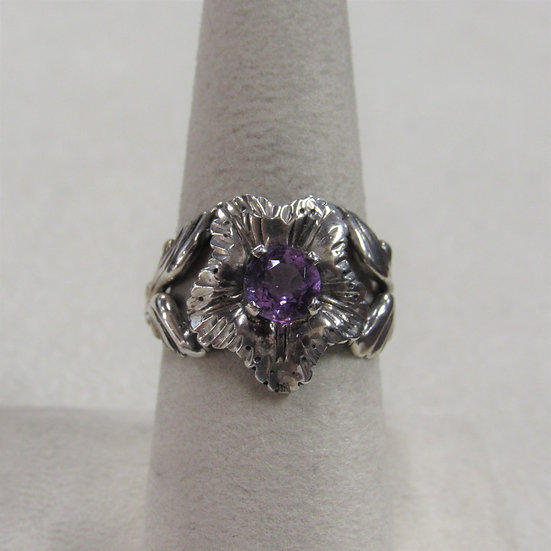 Sterling Silver and Amethyst Diamond Cut Flower Ring Size 8