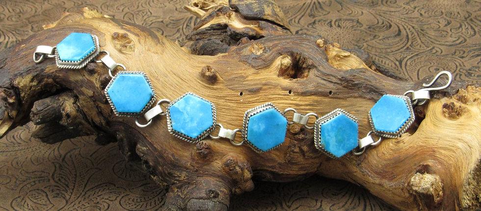 Navajo Hexagon Turquoise Bracelet by Selena Warner