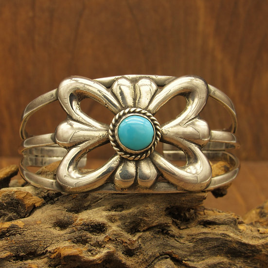Sterling silver and Turquoise Sand Cast Cuff Bracelet.