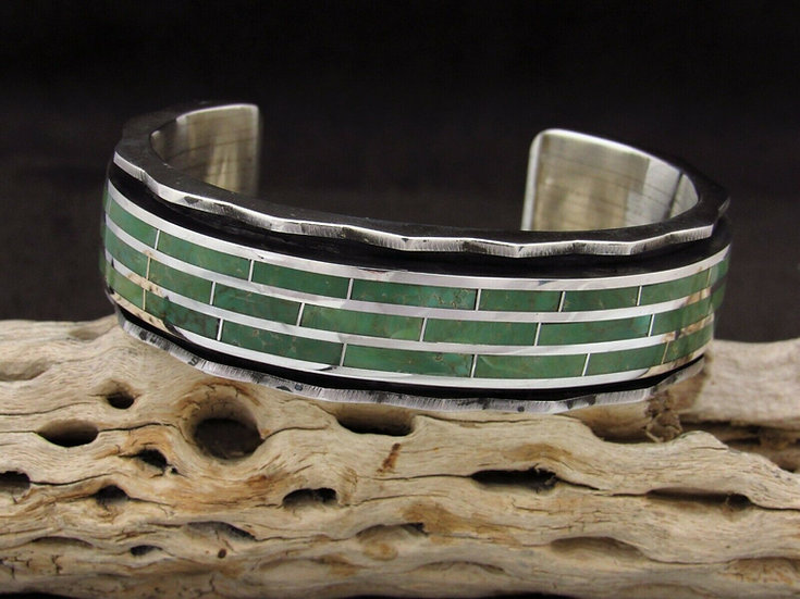 Heavy Sterling Silver Inlay Green Turquoise Inlay Men's Cuff Bracelet