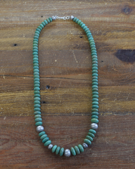 Navajo Green Turquoise and Sterling Silver Beaded Necklace