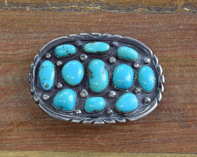Vintage Turquoise Sterling Silver Belt Buckle