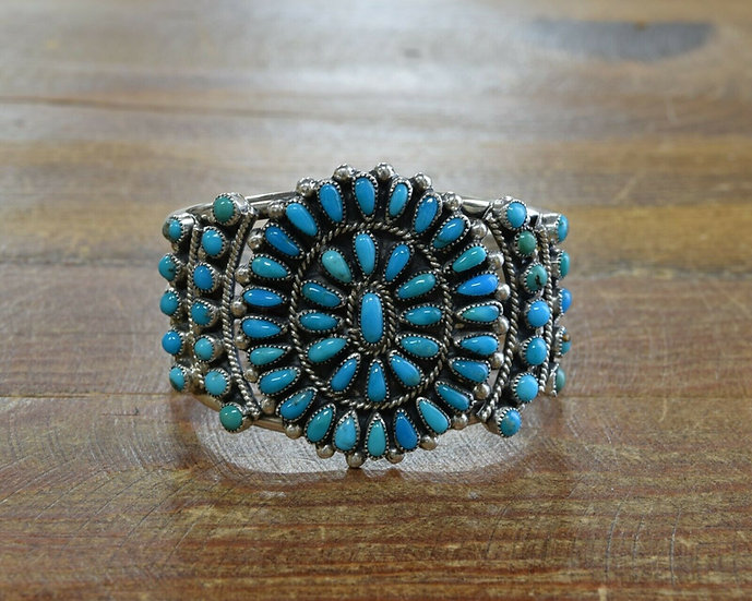 Vintage Navajo Sterling Silver Turquoise Cluster Bracelet by Victor Moses Begay