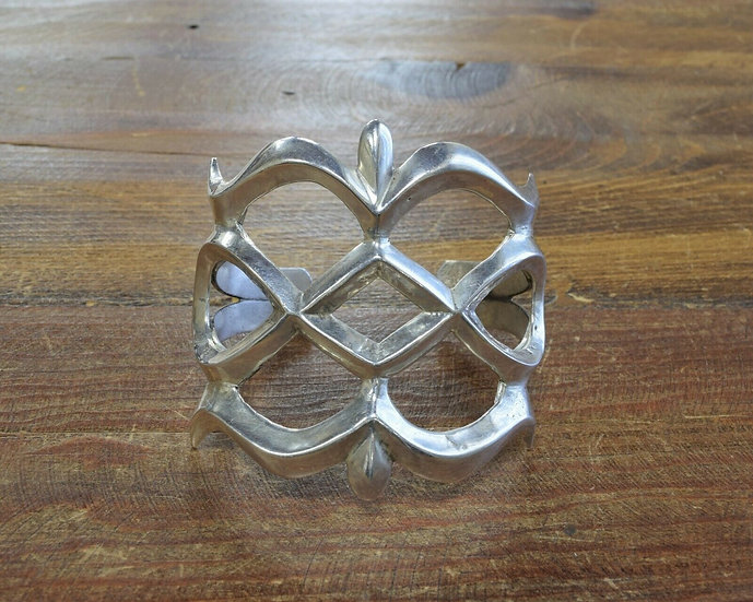 Vintage Sterling Silver Sandcast Cuff Bracelet