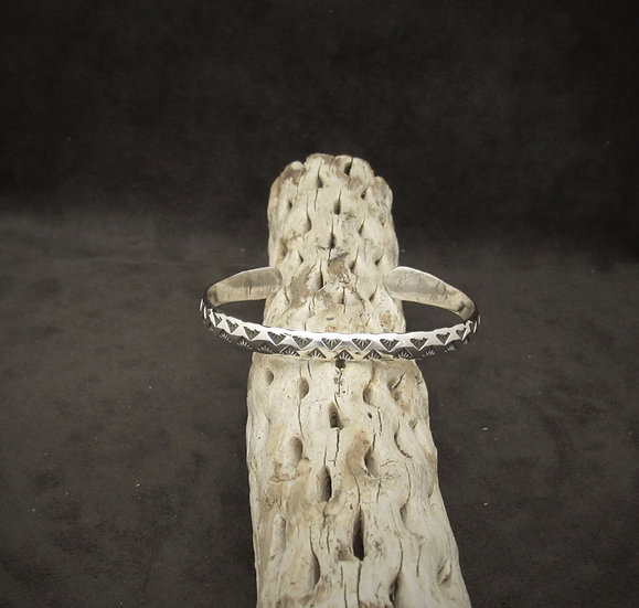 Sterling Silver Cuff Bracelet with Stamped Design