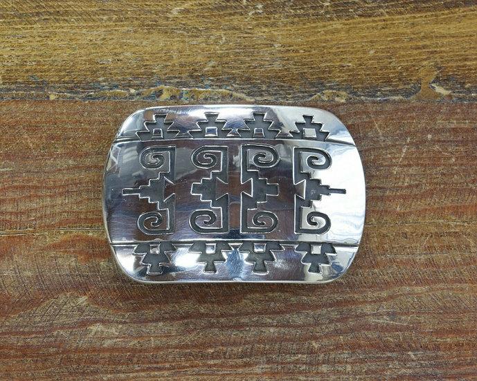 Navajo Sterling Silver Overlay Belt Buckle By Rosco Scott