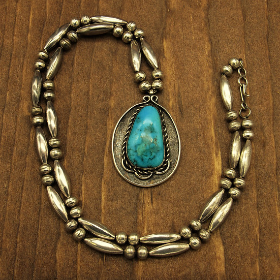 Sterling silver Beads and Turquoise Pendant Necklace