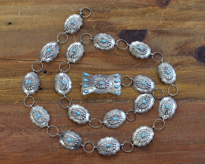 Vintage Southwest Sterling Silver and Turquoise Link Concho Belt