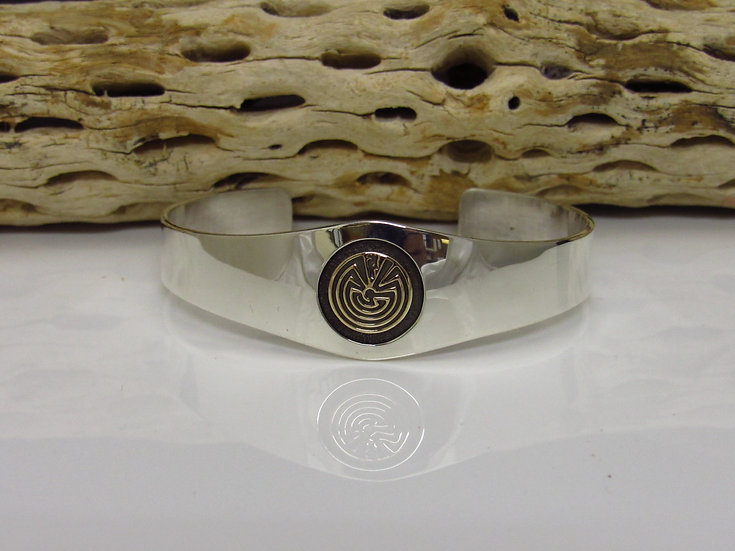 Sterling Silver and 14K Yellow Gold Man in the Maze Cuff Bracelet