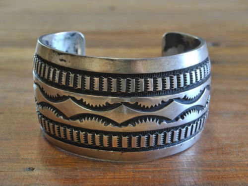 Vintage Navajo Sterling Silver Cuff Bracelet
