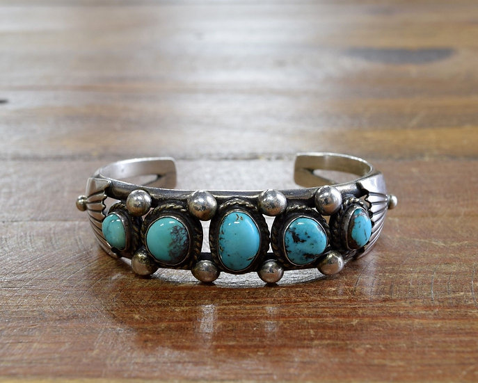 Vintage Navajo Sterling Silver And Bisbee Turquoise Cuff Bracelet