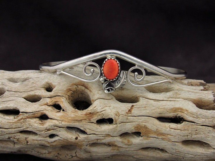 Sterling Silver Orange Spiny Oyster Cuff Bracelet
