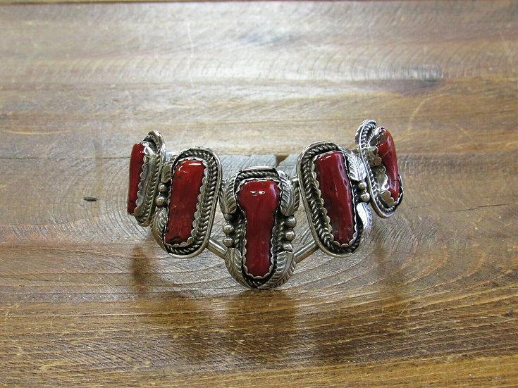 Vintage Coral Sterling Silver Cuff Bracelet