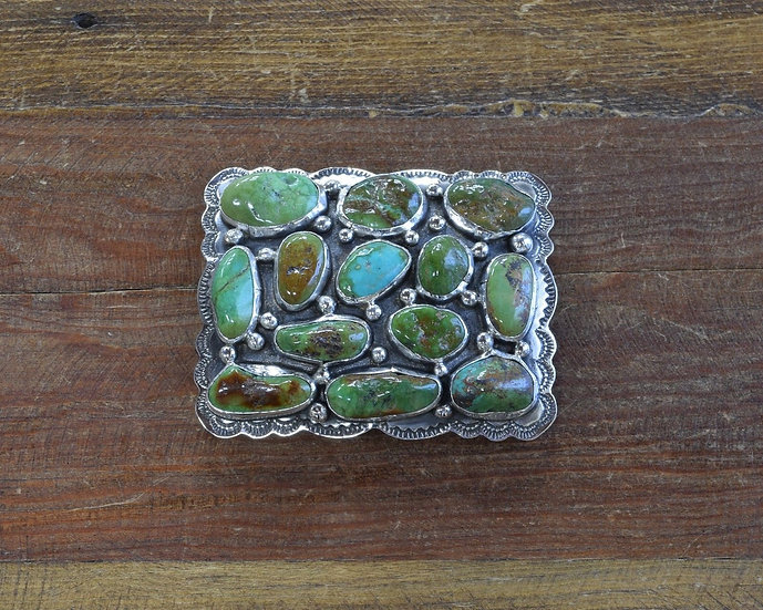 Southwest Sterling Silver and Green Turquoise Belt Buckle
