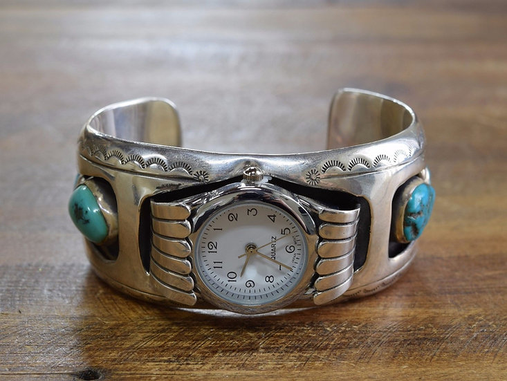 Vintage Navajo Turquoise Shadowbox Sterling Silver Watch Cuff Bracelet