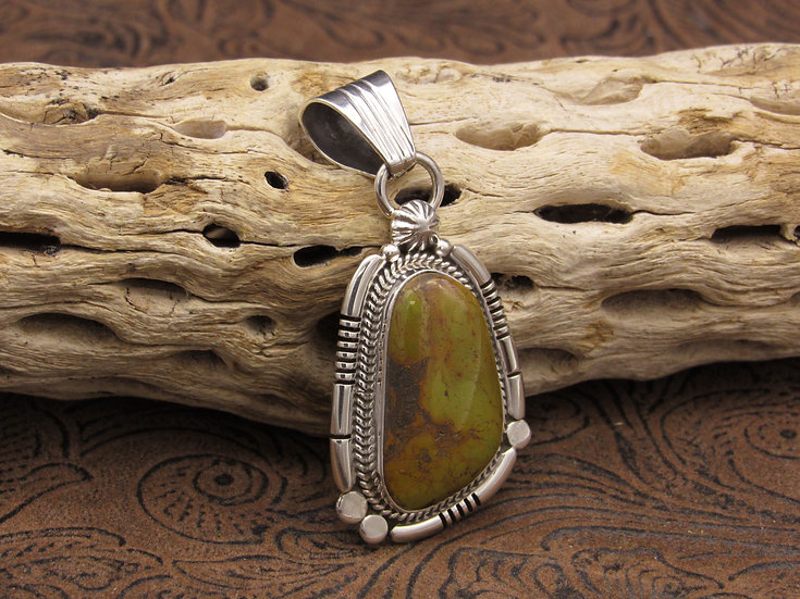 Green Turquoise Sterling Silver Pendant by Running Bear Workshop