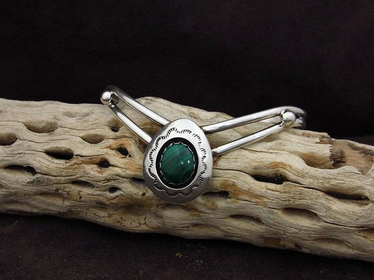 Sterling Silver Malachite Shadowbox Cuff Bracelet by Valerie Goodluck