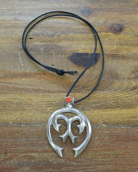 Sterling Silver and Red Coral Sandcast Naja Pendant