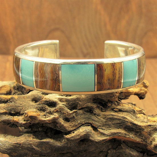 Sterling Silver Inlaid Turquoise and Agate Cuff Bracelet