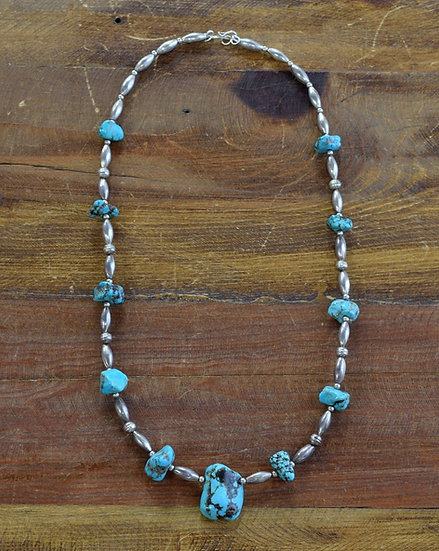 """Sterling Silver Beads and Turquoise Nuggets Southwest Necklace 24"""""""