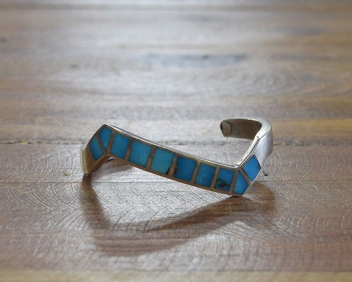 Vintage Sterling Silver and Turquoise Inlay Zigzag Cuff Bracelet - Small Wrist
