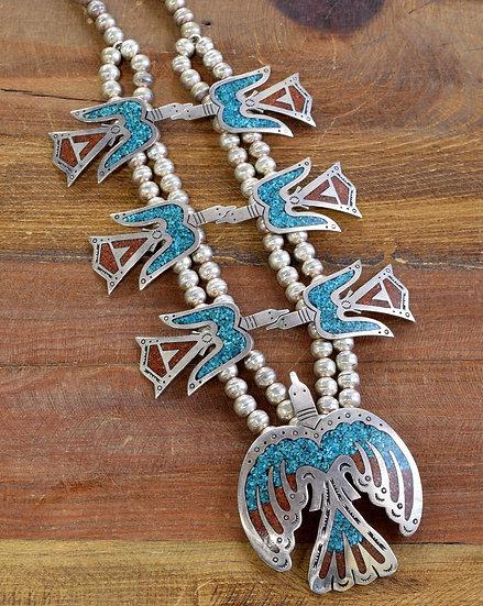 Vintage Navajo Silver Chip Inlay Peyote Bird Squash Blossom Necklace