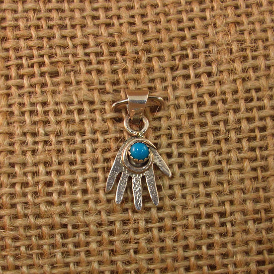 Navajo Turquoise Sterling Silver Hand Pendant